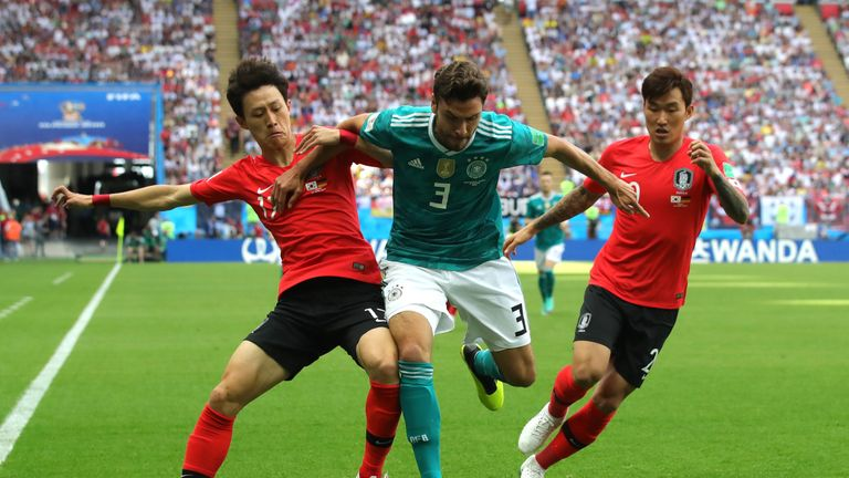 Jonas Hector is challenged by Jae-sung Lee and Hyun-soo Jang