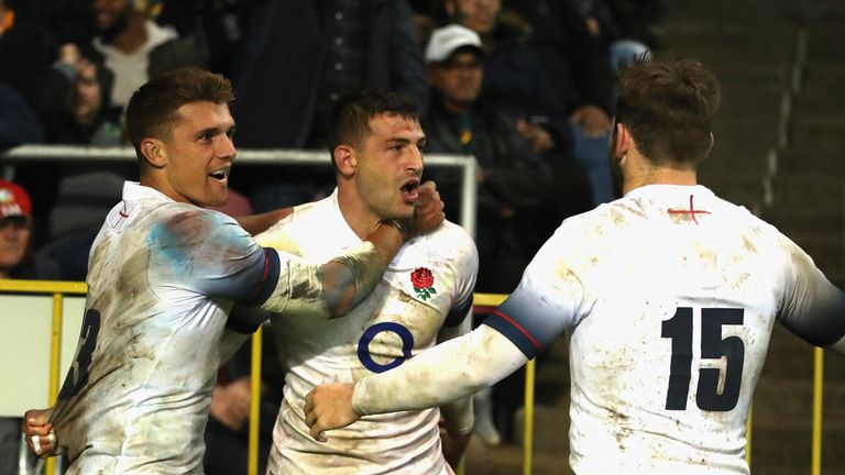 Jonny May celebrates his try against South Africa