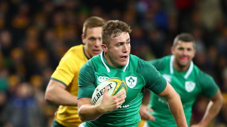 Ireland's Jordan Larmour on the attack against Australia