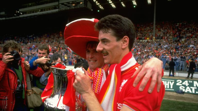 Dalglish (left) with Ian Rush (right) at Wembley