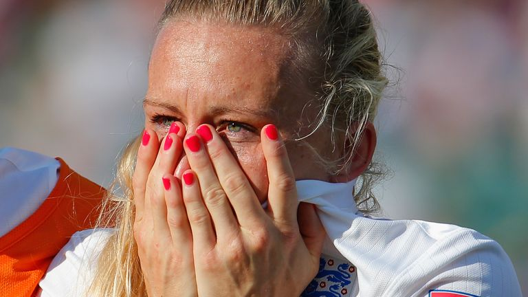 Laura Bassett following her own goal in the World Cup