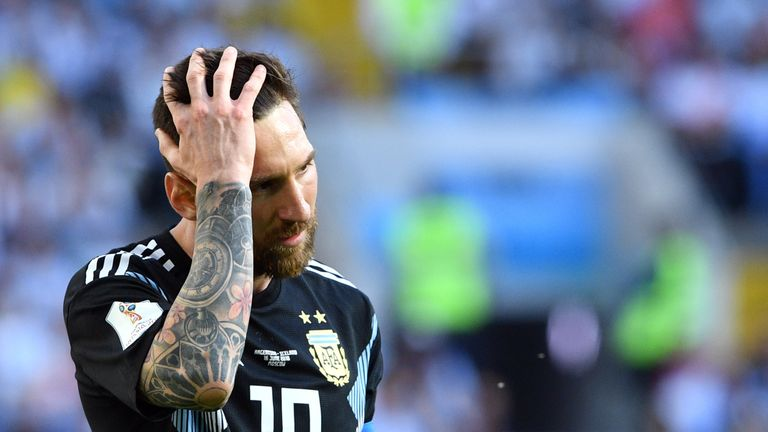 Lionel Messi shows his frustration after missing a penalty against Iceland
