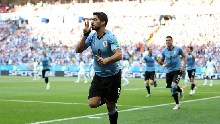 Luis Suarez celebrates after giving Uruguay the lead in Rostov-on-Don