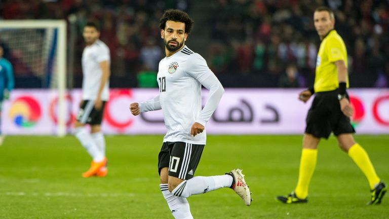 Mo Salah in action for Egypt