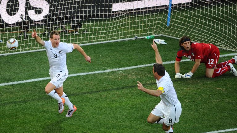 Shane Smeltz scores for New Zealand against Italy in 2010