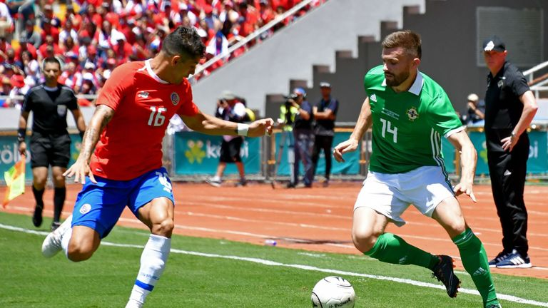 Stuart Dallas in action for Northern Ireland against Costa Rica
