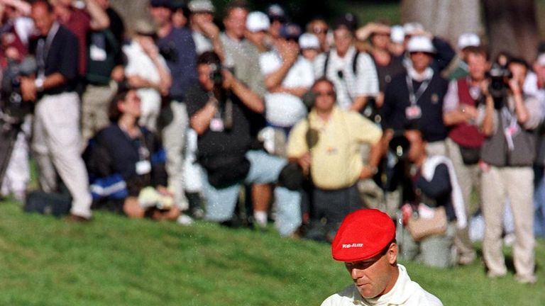 Payne Stewart is incredulous as his putt rolls 25 feet from the hole
