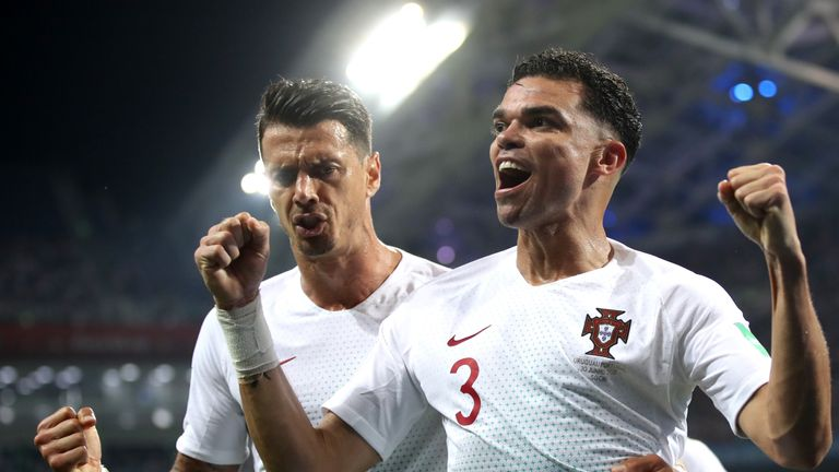 Pepe celebrates his equaliser against Uruguay