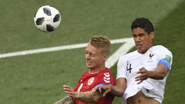 Raphael Varane (right) and Simon Kjaer in action during the 0-0 draw