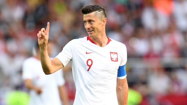 Robert Lewandowski gestures during Poland's World Cup clash with Senegal