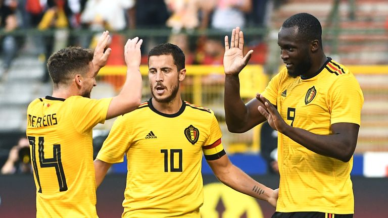 Romelu Lukaku (right) scored twice in Belgium's 4-1 victory