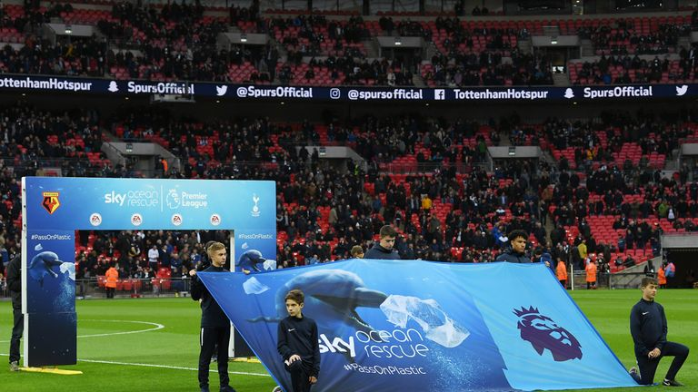Sky's and the Premier League's Sky Ocean Rescue partnership was launched at Tottenham's temporary home, Wembley