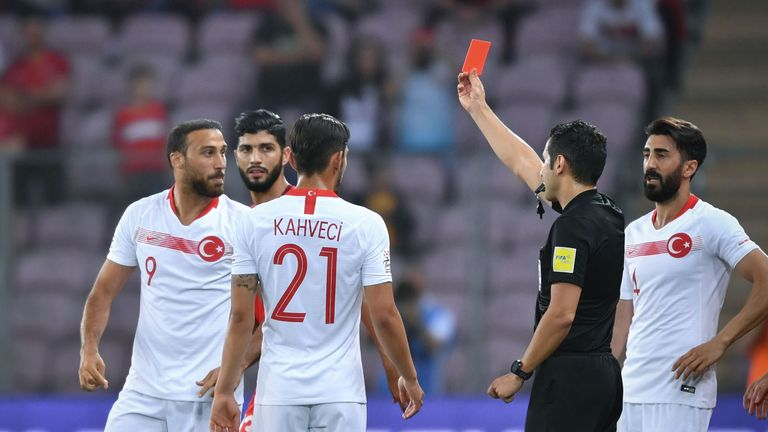Everton striker Cenk Tosun was sent off for Turkey against Tunisia minutes after scoring a penalty