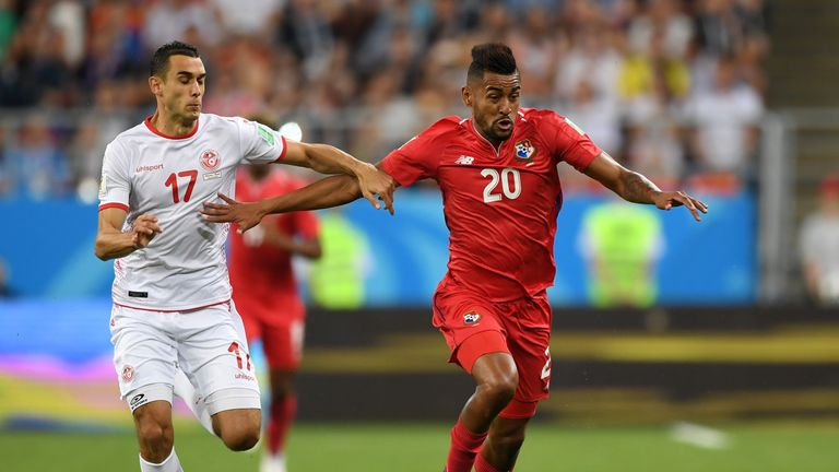 Anibal Godoy of Panama is challenged by Ellyes Skhiri of Tunisia