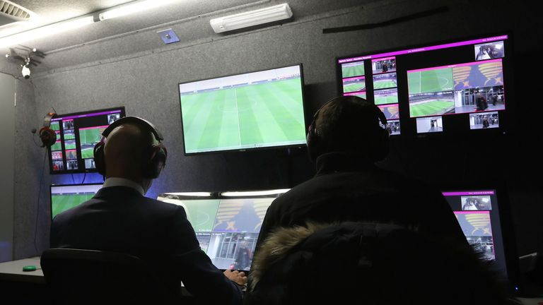 Refeeres take part in a presentation of Video Assistant Referee system (VAR) before the French League Cup football match between Nice and Monaco in January