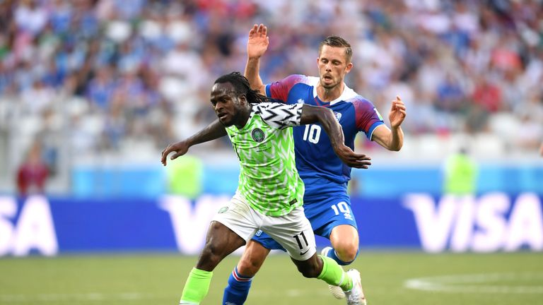 Victor Moses and Gylfi Sigurdsson in action at the Volgograd Arena