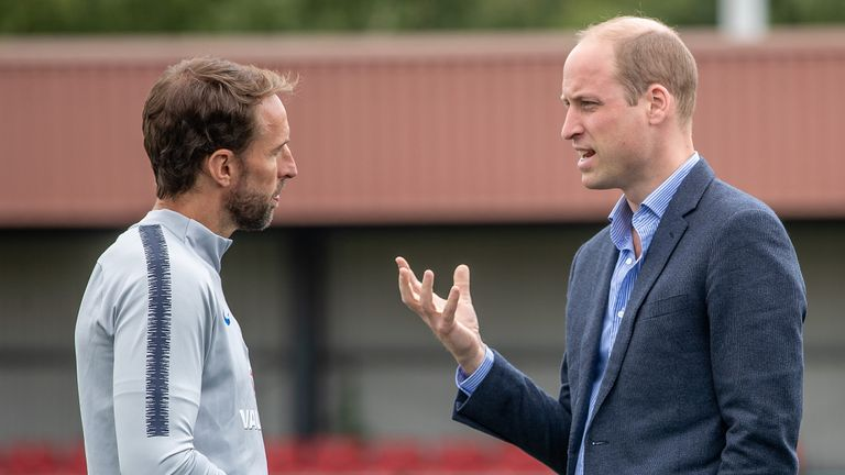 Prince William was welcomed by England manager Gareth Southgate