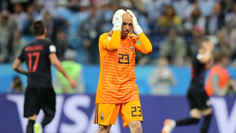 Willy Caballero reacts after his mistake costs Argentina a goal against Croatia