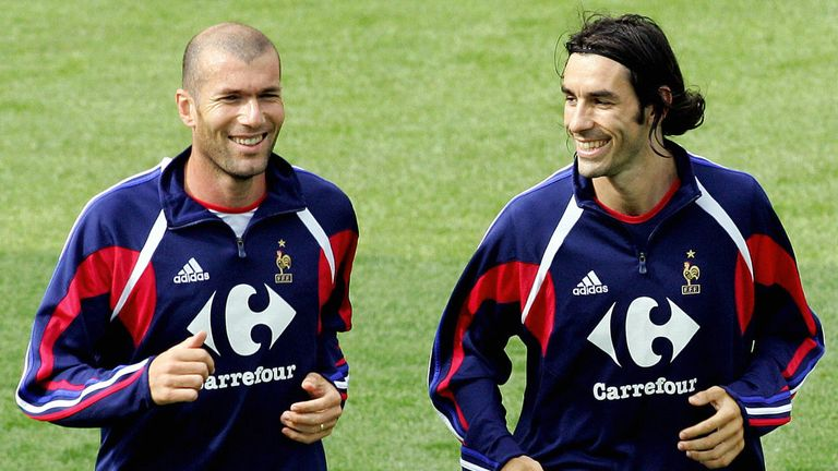 Robert Pires (right) believes former France team-mate Zidane could be in demand by Premier League clubs