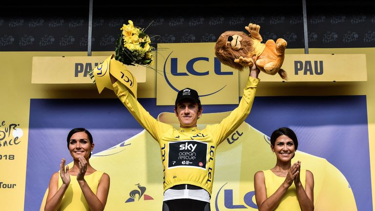 Geraint Thomas salutes the crowd after a trouble-free day on stage 18