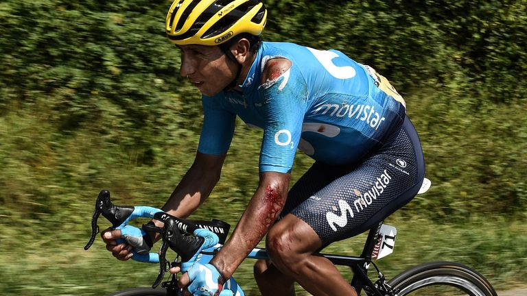 Nairo Quintana injured his shoulder and elbow in a mid-stage crash