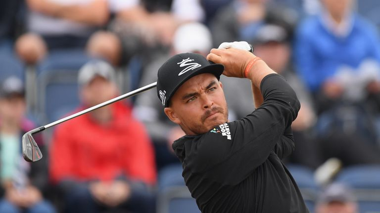 Rickie Fowler in second-round action at Carnoustie