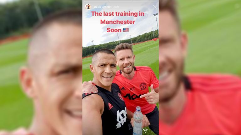 Alexis Sanchez posted this of him in training on Thursday to his Instagram account (Instagram.com/alexis_officia1)