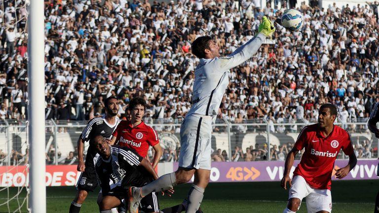 Alisson in action for Internacional against Ponte Preta in July 2015