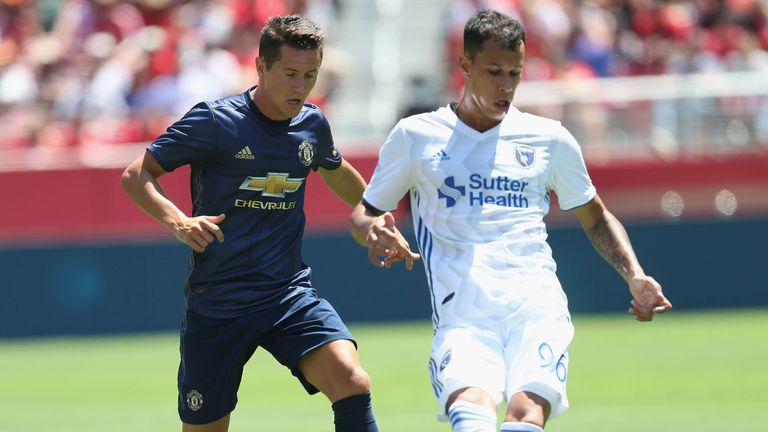 Ander Herrera in action with Luis Felipe of San Jose Earthquakes