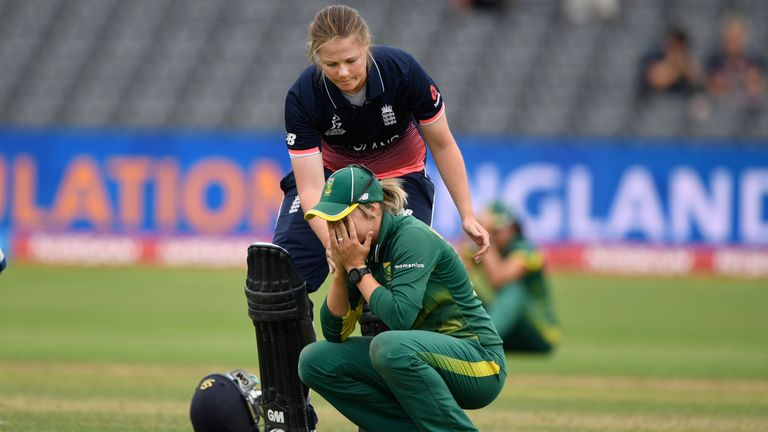 Anya Shrubsole comforting Dane van Niekerk after England beat South Africa World Cup semi-final was one of the moments of the tournament