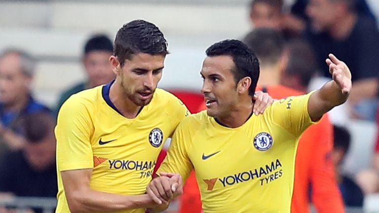 Pedro celebrates his goal against Inter Milan