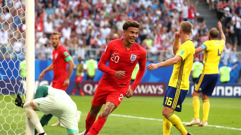 Dele Alli scored England's second goal against Sweden