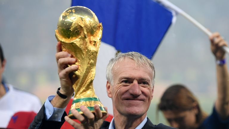 France manager Didier Deschamps celebrates with the World Cup