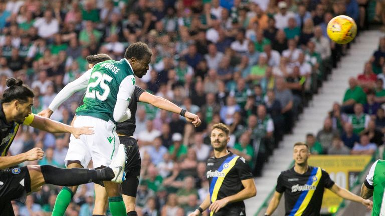 Efe Ambrose scores for Hibernian during their Europa League qualifier