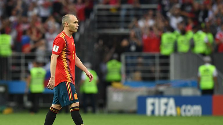 Andres Iniesta trudges off after Spain's World Cup exit against Russia