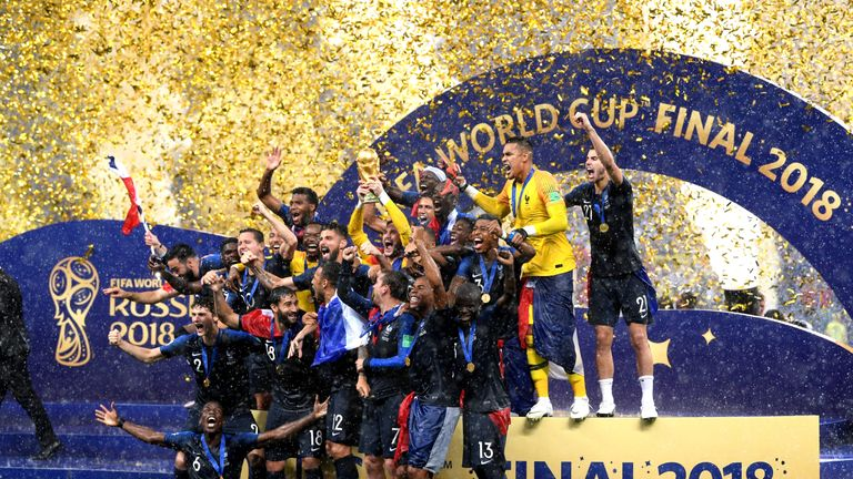 France players celebrate after the 4-2 victory over Croatia in the 2018 World Cup Final