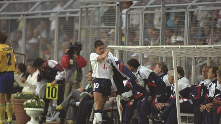 Gary Lineker after being substituted in his final game for England at Euro '92