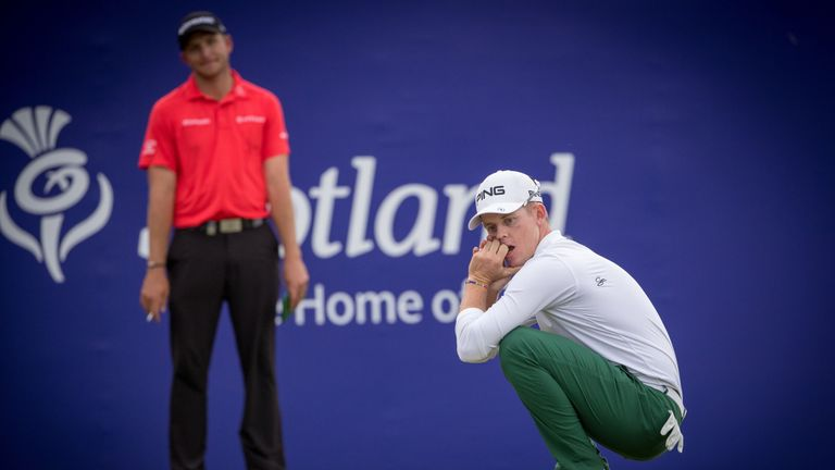 Stone reacts after his putt for a 59 on the 18th came up just short
