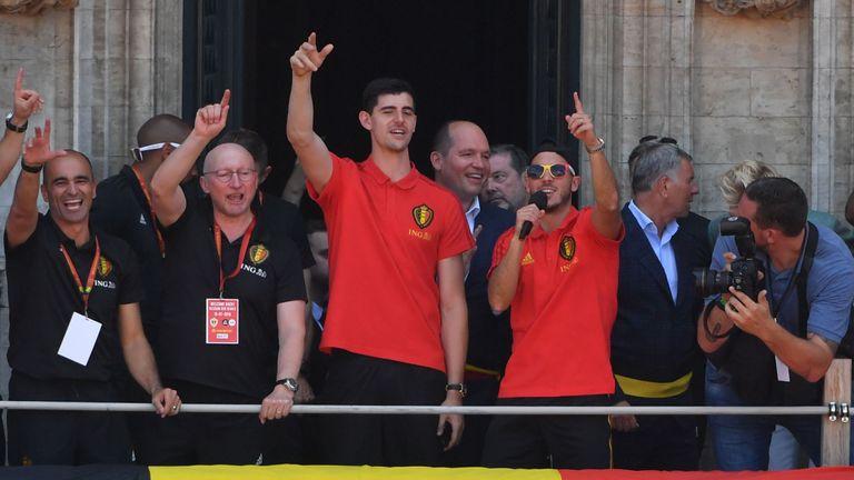 Thibaut Courtois and Eden Hazard after Belgium's World Cup campaign