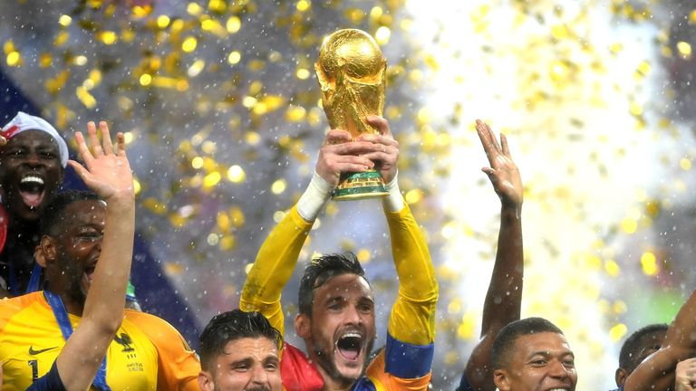 Lloris lifted the trophy after their  4-2 win in Moscow.