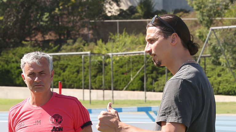 Zlatan Ibrahimovic chats to Jose Mourinho during a Manchester United pre-season training session