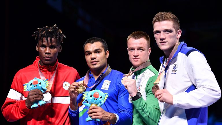 John Docherty (R) picked up a bronze medal at the Gold Coast Commonwealth Games