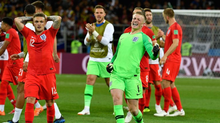 Jordan Pickford celebrates England's victory on Tuesday