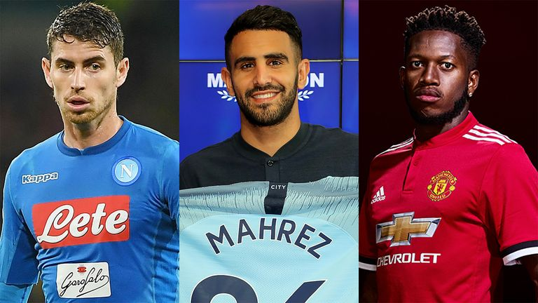 Jorginho (left), Riyad Mahrez and Fred are just three new arrivals in the Premier League next season