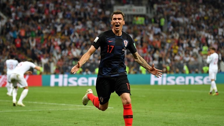 Mario Mandzukic a celebrates after scoring Croatia's second goal