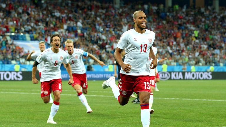 Mathias Jorgensen celebrates after putting Denmark 1-0 up against Croatia