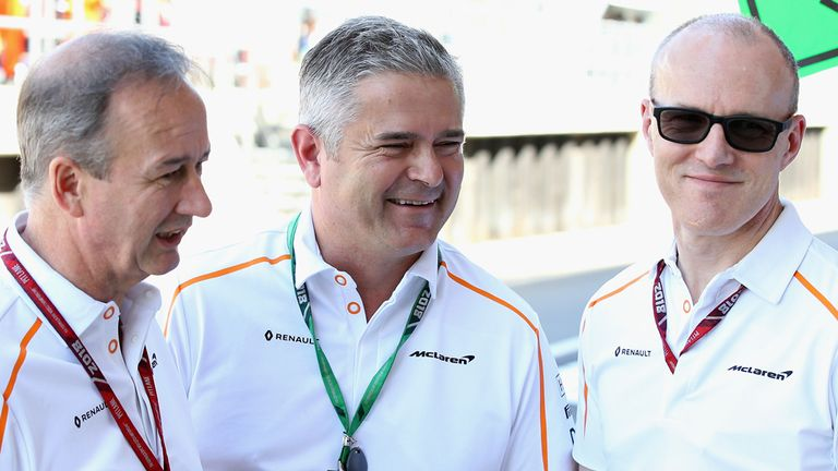 Gil de Ferran, centre, joined McLaren midway through 2018