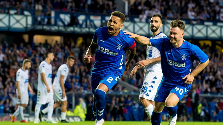James Tavernier celebrates his goal with Middleton