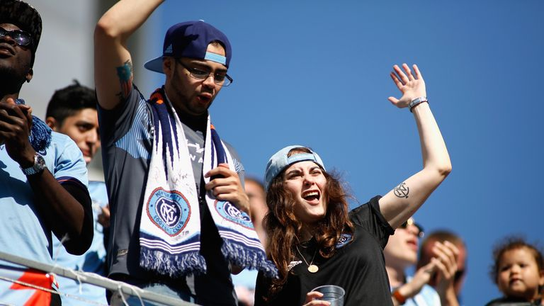 New York City fans celebrate their derby victory