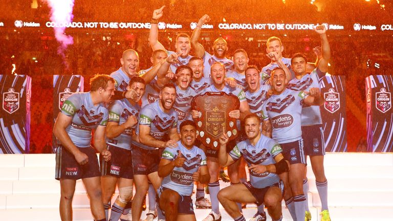 The Blues celebrate with the shield despite losing the final game